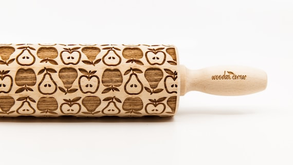 APPLE & PEAR- embossing rolling pin pattern Engraved rolling pin