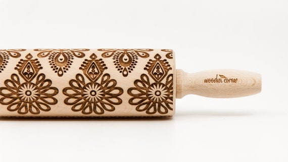 POLISH FOLK pattern - PARZENICA - pattern characteristic for the Polish highlanders. Embossing Rolling pin, Engraved rolling pin