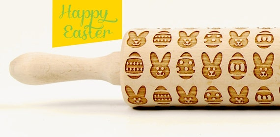 Easter bunny, Easter eggs - embossing rolling pin, laser engraved rolling pin