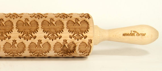 Polski Orzeł Polish Eagle, Embossing rolling pin, Engraved Rolling Pin, Embossed Rolling Pin, Wooden Rolling pin