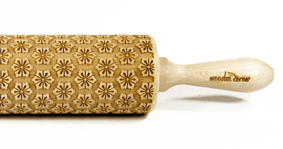 Kimono Flowers 2 - Big size Rolling Pin, Engraved Rolling Pin, Rolling Pin, Embossed Cookies, Wooden Rolling pin