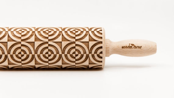 OP ART CIRCLES, Rolling Pin, Embossed rolling pin, Wooden roller engraved, Embossing Cookies, Wooden Toys,Stamp, Baking Gift, Birthday