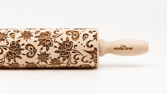 BOHO-CHIC STYLE pattern, Rolling Pin, Engraved Rolling, Rolling Pin, Embossed rolling pin, Wooden Rolling pin