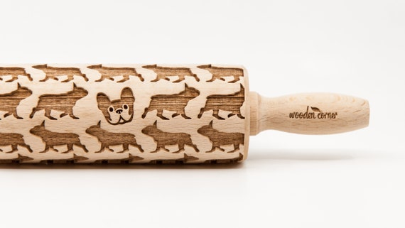 FRENCH BULLDOG pattern, Rolling Pin, Engraved Rolling, Rolling Pin, Embossed rolling pin, Wooden Rolling pin