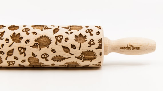 HEDGEHOGS pattern, Rolling Pin, Engraved Rolling, Rolling Pin, Embossed rolling pin, Wooden Rolling pin