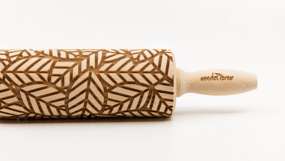 No. R198 LEAVES pattern, Rolling Pin, Engraved Rolling, Rolling Pin, Embossed rolling pin, Wooden Rolling pin