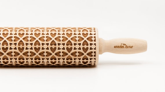 No. R151 TILES OF HEARTS pattern Rolling Pin, Engraved Rolling, Rolling Pin, Embossed rolling pin, Wooden Rolling pin