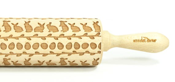 Easter bunnies and Willow - Big size Rolling Pin, Engraved Rolling Pin, Rolling Pin, Embossed Cookies, Wooden rolling pin, Nudelholz