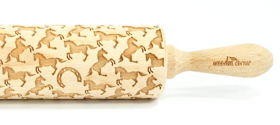 Horses - Big size Rolling Pin, Engraved Rolling Pin, Rolling Pin, Embossed Cookies, Wooden Rolling pin