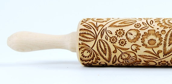 Polish folk flowers I, folk flowers. Embossing Rolling pin, engraved rolling pin