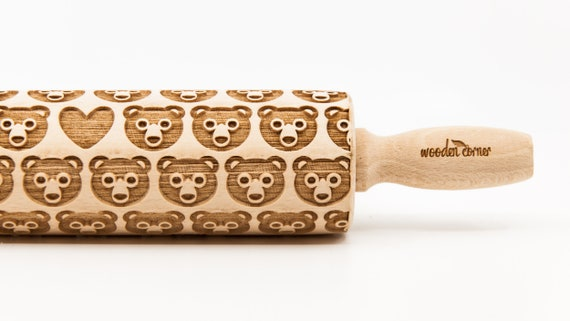 SWEET BEARS pattern, Rolling Pin, Engraved Rolling, Rolling Pin, Embossed rolling pin, Wooden Rolling pin