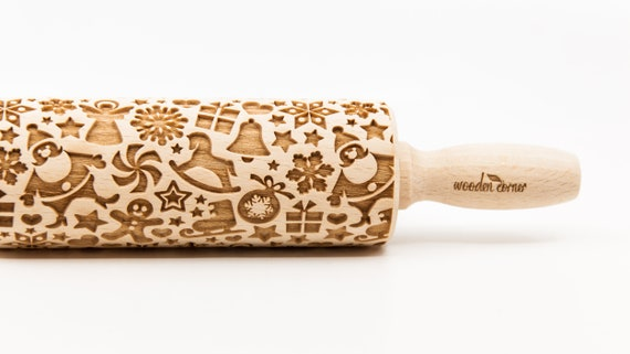 CHRISTMAS MIX 2 pattern, Rolling Pin, Engraved Rolling, Rolling Pin, Embossed rolling pin, Wooden Rolling pin