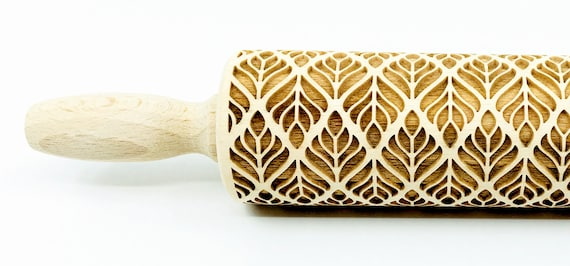Art Deco - Rolling Pin, Embossed rolling pin, Wooden roller engraved, Embossing Cookies, Wooden Toys,Stamp, Baking Gift, Birthday