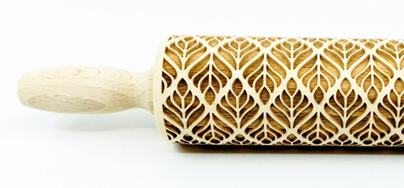 No. R251, Art Deco - Rolling Pin, Embossed rolling pin, Wooden roller engraved, Embossing Cookies, Wooden Toys,Stamp, Baking Gift, Birthday