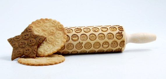 Emoticons - MINI Embossing Rolling pin, engraved rolling pin