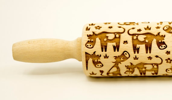 Funny cows - Rolling Pin, Embossed rolling pin, Wooden roller engraved, Embossing Cookies, Wooden Toys,Stamp, Baking Gift, Birthday