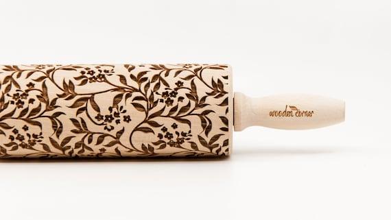 SPRING TWIGS pattern, Rolling Pin, Engraved Rolling, Rolling Pin, Embossed rolling pin, Wooden Rolling pin