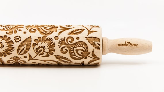 POLISH FOLK FLOWERS 3 pattern, Rolling Pin, Engraved Rolling, Rolling Pin, Embossed rolling pin, Wooden Rolling pin