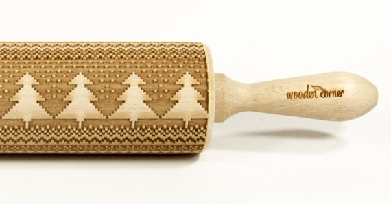 North Land 7, Scandinavia- Big size Rolling Pin, Engraved Rolling Pin, Rolling Pin, Embossed Cookies