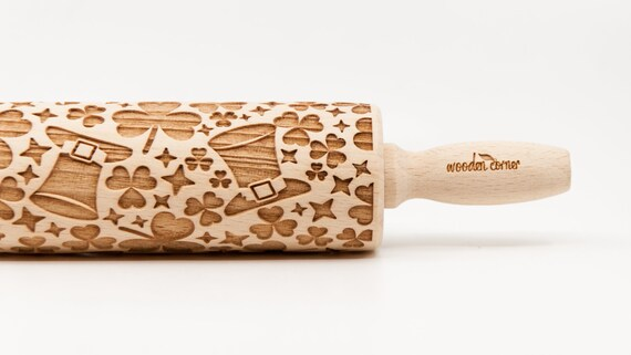 St. PATRICK'S DAY, Lá 'le Pádraig  St Paddy's Day - Embossing Rolling pin, Engraved rolling pin