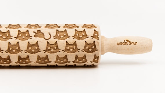 CATS 9 pattern, Rolling Pin, Engraved Rolling, Rolling Pin, Embossed rolling pin, Wooden Rolling pin