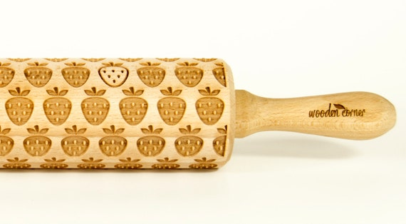 Strawberry Rolling Pin, Engraved Rolling Pin, Embossing rolling pin, Wooden Rolling pin