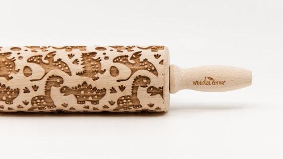 DINOS pattern, Rolling Pin, Engraved Rolling, Rolling Pin, Embossed rolling pin, Wooden Rolling pin