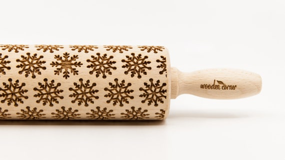 SNOWFLAKES 5, Rolling Pin, Engraved Rolling, Rolling Pin, Embossed rolling pin, Wooden Rolling pin