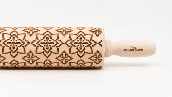 AZTEC FLOWERS 2 pattern, Rolling Pin, Engraved Rolling, Rolling Pin, Embossed rolling pin, Wooden Rolling pin