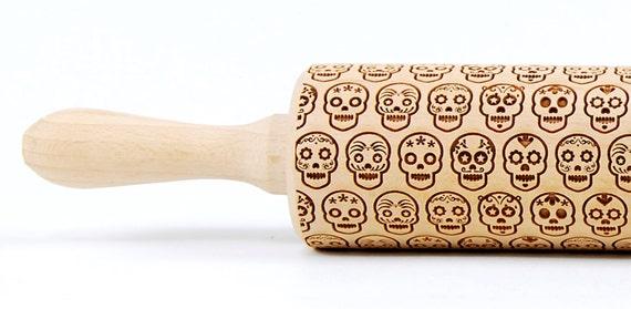Mexico Skull Día de Muertos Pattern sugar skull Wooden rolling pin Roller Engraved Housewarming