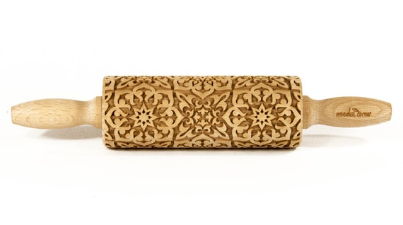 Alhambra 7  MIDI Rolling Pin, Engraved Rolling, Rolling Pin, Embossed rolling pin, Wooden Rolling pin, Kids' toys