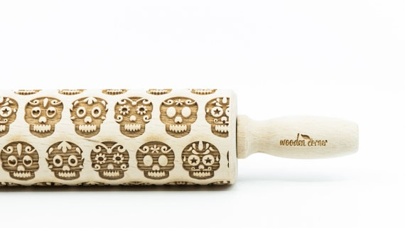 Sugar skull No 2 - Rolling Pin, Embossed rolling pin, Wooden roller engraved, Embossing Cookies, Wooden Toys,Stamp, Baking Gift, Birthday