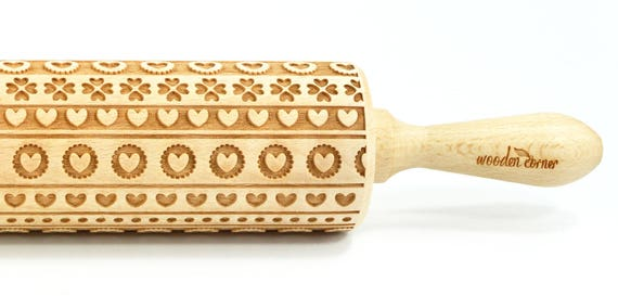 Pattern of hearts 1 - Big size Rolling Pin, Engraved Rolling Pin, Rolling Pin, Embossed Cookies, Wooden rolling pin, nudelholz