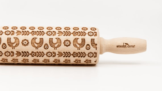 SCANDINAVIAN HENS Rolling Pin, Engraved Rolling Pin, Rolling Pin, Embossed Cookies, nudelholz