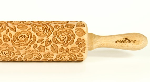 Shabby chic VINTAGE ROSES Rolling Pin, Engraved Rolling Pin, Embossed Rolling Pin Rolling, Wooden Rolling pin