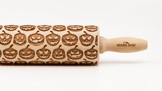 PUMPKINS pattern, Rolling Pin, Engraved Rolling, Rolling Pin, Embossed rolling pin, Wooden Rolling pin