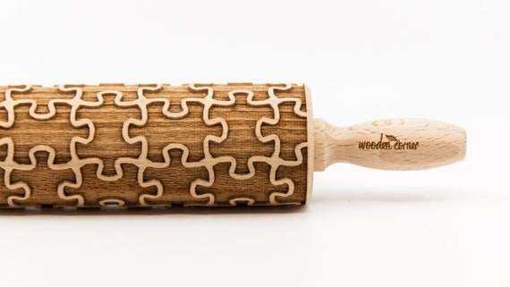 PUZZLE pattern, Rolling Pin, Engraved Rolling, Rolling Pin, Embossed rolling pin, Wooden Rolling pin