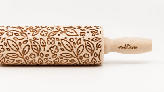 SPRING PLANTS -pattern, Rolling Pin, Engraved Rolling, Rolling Pin, Embossed rolling pin, Wooden Rolling pin