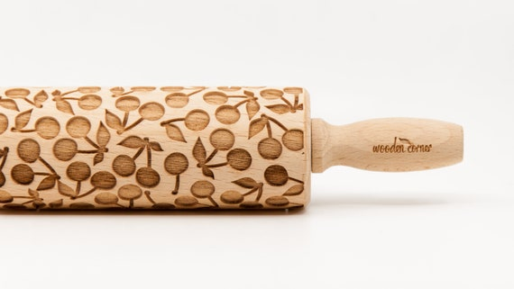 CHERRY pattern, Rolling Pin, Engraved Rolling Pin, Gift, Rolling Pin, Embossing rolling pin, Wooden Rolling pin