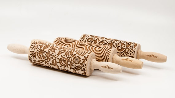 Set of 3 Patterns SMALL rolling pins ! SET of ANY 3 Rolling Pins Choose any 3 rolling pin you want