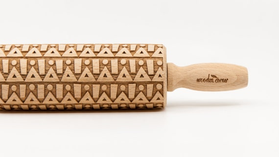 GEOMETRIC 6 pattern, Rolling Pin, Engraved Rolling, Rolling Pin, Embossed rolling pin, Wooden Rolling pin