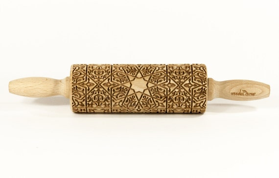 Alhambra 6  MIDI Rolling Pin, Engraved Rolling, Rolling Pin, Embossed rolling pin, Wooden Rolling pin, Kids' toys