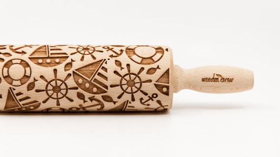 MARINE SAILOR 3, Engraved Rolling Pin Gift Rolling Pin Rolling PiN for Embossed Cookies Wooden Rolling pin
