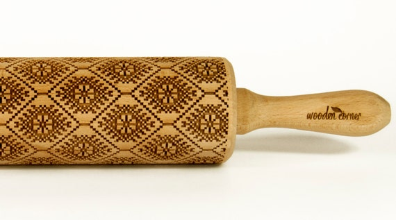 Norwegian pattern II Rolling Pin Engraved Rolling Pin Gift Rolling Pin Rolling PiN for Embossed Cookies Wooden Rolling pin