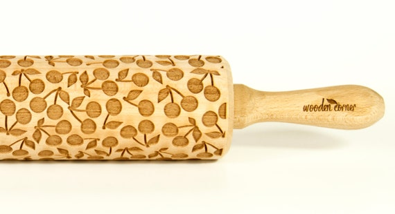 Cherry Rolling Pin, Engraved Rolling Pin, Gift, Rolling Pin, Embossing rolling pin, Wooden Rolling pin