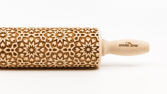 ALHAMBRA 10,  Rolling Pin, Engraved Rolling, Rolling Pin, Embossed rolling pin, Wooden Rolling pin