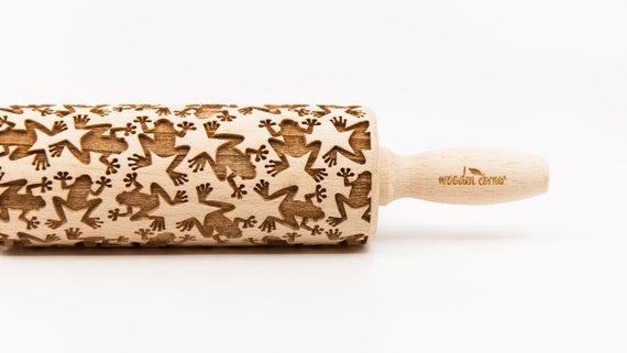 FROG pattern - Rolling Pin, Embossed rolling pin, Wooden roller engraved, Embossing Cookies, Wooden Toys,Stamp, Baking Gift, Birthday