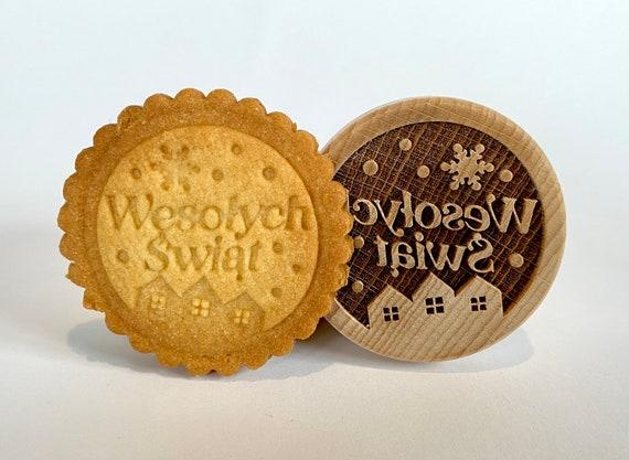 """No. 034 Drewniany stempel do ciast, pierników, ceramiki i wielu innych pomysłów """"Wesołych Świąt"""""""