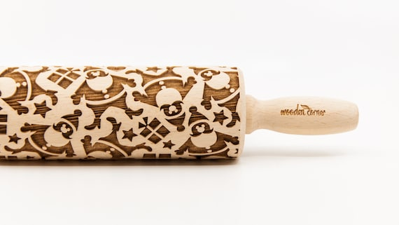 SANTA CLAUS pattern - Rolling Pin, Embossed rolling pin, Wooden roller engraved, Embossing Cookies, Wooden Toys,Stamp,Christmas presents