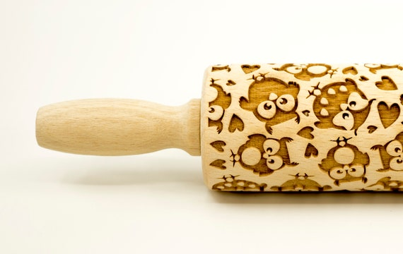 Owls No 3 - Rolling Pin, Embossed rolling pin, Wooden roller engraved, Embossing Cookies, Wooden Toys,Stamp, Baking Gift, Birthday